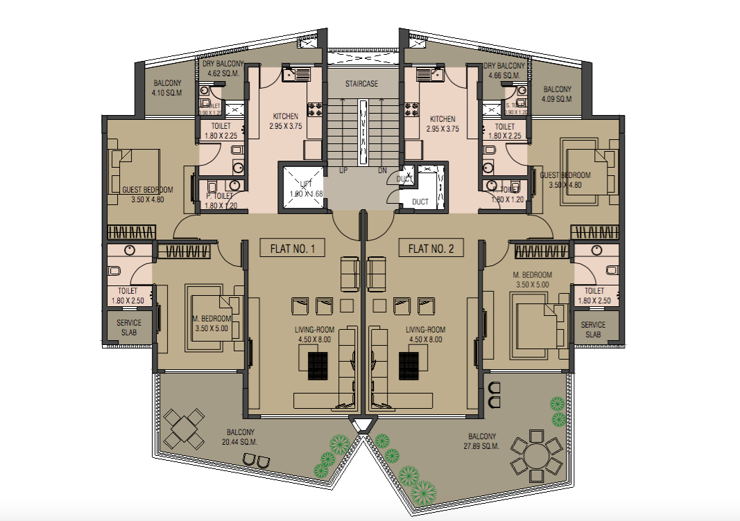 2 BHK - Typical Floor Plan